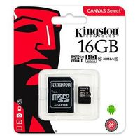 Карта памяти MicroSD 16 Gb Kingston class10 UHS-I Canvas Select up to 80 Mb/s с адаптером (SDCS/16GB)